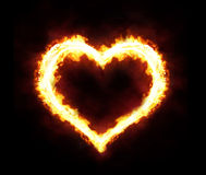 Fire heart. Valentines day or hot love concept - fire heart Stock Photo