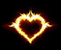 Fire heart. Valentines day or hot love concept - fire heart Stock Photos
