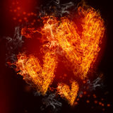 Fire Hearts. Three Fire Hearts on Black and Red Background Stock Image
