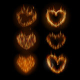 Fire hearts set. Vector illustration for cards, t-shirts and so on Royalty Free Stock Images