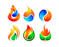 Fire Heat Logo Concept. Vector Design of 6 Colorful Digital Fire Element Logo Graphic for Energy Business Royalty Free Stock Image