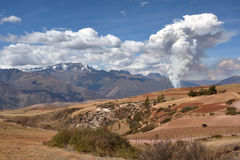 The fire and heavy smoke, Peru Royalty Free Stock Images