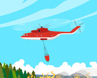 The fire helicopter. A fire helicopter extinguishes a fire in hard-to-reach places. Vector illustration Royalty Free Stock Photos