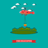 Fire helicopter vector illustration in flat style. Vector illustration of red rescue firefighting aircraft in the air. Fire fighting helicopter design element in Stock Photography