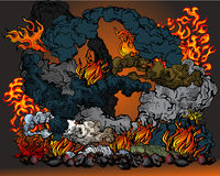 Fire in hell. Vector illustratuion of fire and smoke Royalty Free Stock Photo
