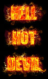 Fire Text Hell Hot Devil. Fire hell hot devil text in burning flames Royalty Free Stock Image