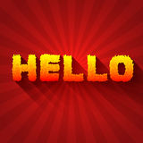 Fire hello text on a red background concept. Stock Photos