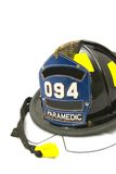 Fire helmet. A firefighter paramedic helmet on a white background Royalty Free Stock Photo