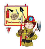 Fire helmet ax fire hose shield. Shovel hook fire extinguisher Royalty Free Stock Photography
