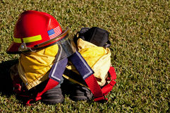 Fire Helmet and Boots Stock Images
