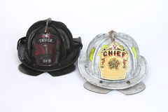 Fire helmets. Firemens helmets royalty free stock photos