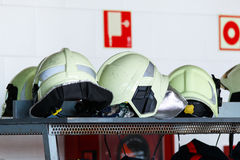 Fire helmets Stock Photography