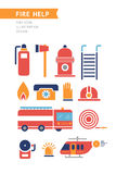 Fire Help Conceptual Vector Icons Set. Fire help service icons set. Flat style design. Collection of equipment and tools for firefighters team. Fire helicopter Stock Photo