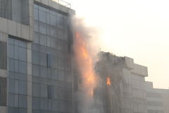 Fire in high rise building Stock Photos