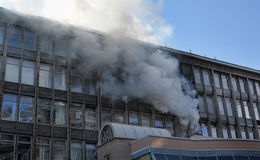 Fire in high rise building Stock Image