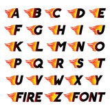 Fire and high speed font. Fire and high associated speed font, letters A, B, C, D, E, F. Typeface symbols for logo on checkered background Stock Image