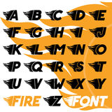 Fire and high speed font. Fire and high associated speed font,  typeface symbols for logo, plackard Stock Photography