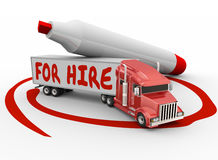 Fire Hire Truck Independent Driver Owner Operator. For Hire words written on truck with red marker as an owner operator or driver contractor stock illustration