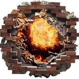 Fire hole. Fire breaks through Big Hole on the floor, tiles, bricks concrete background Stock Photos
