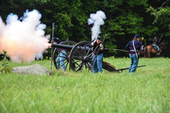 Fire in the hole. An civil war reenactment taken in phillipston mass Royalty Free Stock Images