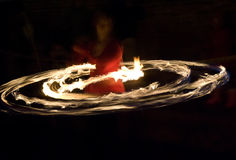 Fire hoop dancer Stock Image