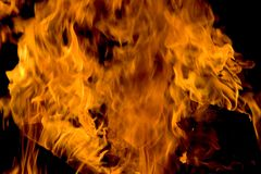 Fire - Horizontal. Horizontal fire rising. Usage for background or element in comp royalty free stock photo