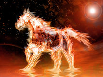 Fire horse. Running on other planet Stock Photos