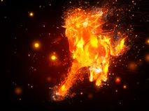 Fire horse. Abstract illustration of running horse in fire background Royalty Free Stock Images