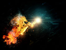 Fire horse. Abstract illustration of running horse in fire background Stock Photography
