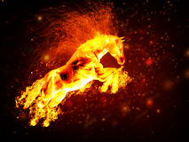 Fire horse. Beautiful running fiery horse on abstract background Stock Photography