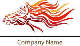 Fire horse. Illustrated fire horse logo design Stock Photography