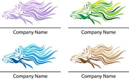 Fire horse. Illustrated fire horse logo design set Royalty Free Stock Image