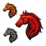 Fire horse stallion heraldic emblems Stock Photo