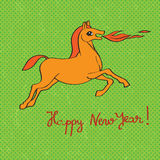 Fire horse year card. New Years greetings card with fire horse over a grungy green background with dots Stock Images