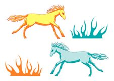 Fire horses and grass Royalty Free Stock Image