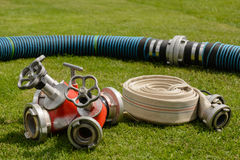 Fire hose and accessories - close-up Royalty Free Stock Photos