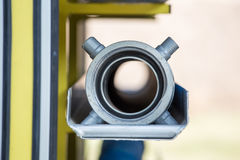 Fire hose adapter on fire truck Royalty Free Stock Images