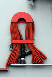 Fire hose on boat Stock Photos