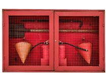 Fire hose cabinet isolated on white background royalty free stock photos