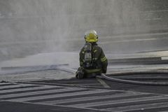 Fire hose deployment royalty free stock images