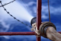Fire hose and razor wire royalty free stock photos