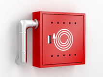 Fire hose reel cabinet. 3d rendered image Stock Photos