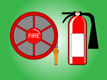 Fire hose reel and extinguishing Stock Photos