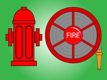 Fire hose reel and Fire hydrant. Vector illustration .Red fire hydrant and Fire hose reel isolated on green background Royalty Free Stock Photography