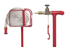 Fire hose station isolated. Stock Photos