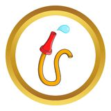 Fire hose vector icon. In golden circle, cartoon style isolated on white background Royalty Free Stock Image