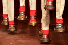 Fire hoses left for drying royalty free stock photos