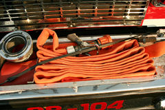 Fire Hoses on a truck. Fire Hoses on the front of a fire truck Stock Photo