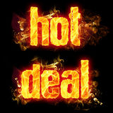 Fire Text Hot Deal. Fire hot deal text badge with burning flames Stock Image