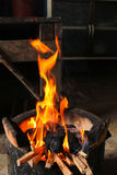 Fire hot flame on stove charcoal for cooking Stock Photos